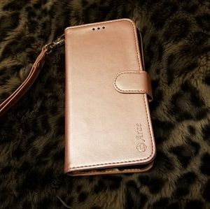 Galaxy 8 rose gold wallet phone case.
